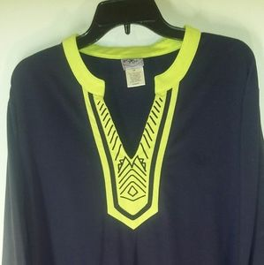 Navy blue & Green Tunic Top size 2x